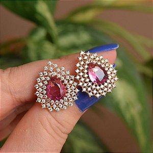 Brinco gota cristal rosa zircônia ouro semijoia 18a04027