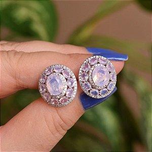 Brinco oval cristal rosa leitoso ródio semijoia 18k01036