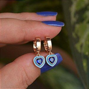 Brinco argolinha coração esmaltado cristal azul ouro semijoia 21a04017