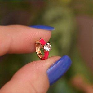 Piercing de encaixe individual esmaltado pink cristal ouro semijoia 21a04012