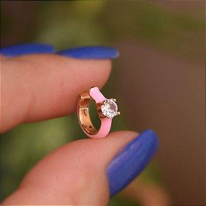 Piercing de encaixe individual esmaltado rosa cristal ouro semijoia 21a04012