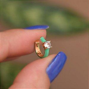 Piercing de encaixe individual esmaltado verde cristal ouro semijoia 21a04012