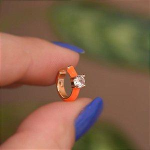 Piercing de encaixe individual esmaltado laranja cristal ouro semijoia 21a04012