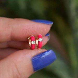 Brinco argolinha esmaltada pink cristal ouro semijoia 21a04014
