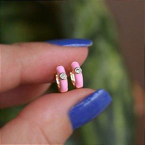 Brinco argolinha esmaltada rosa cristal ouro semijoia 21a04014