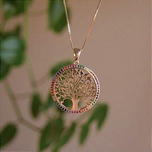 Colar árvore da vida zircônia colorida ouro semijoia