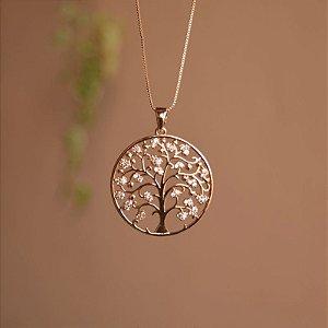 Colar árvore da vida zircônia ouro semijoia