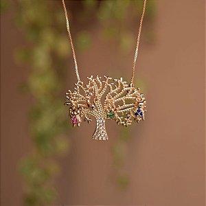 Colar árvore da vida penduricalhos pet zircônia ouro semijoia