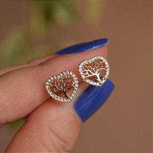 Brinco coração árvore da vida zircônia ouro semijoia