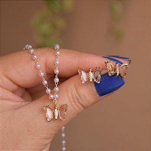 Colar e brinco borboleta pérola cristal ouro semijoia