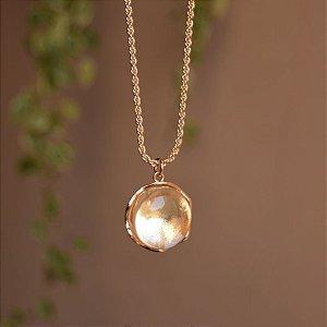 Colar longo cristal redondo ouro semijoia