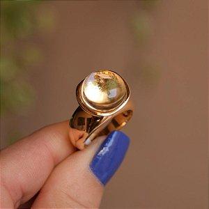Anel redondo cristal ouro semijoia