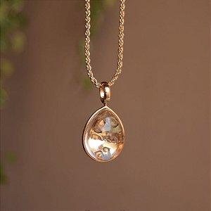 Colar longo cristal gota ouro semijoia