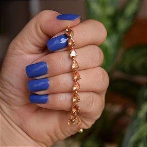 Pulseira gravatinha zircônia gota topázio ouro semijoia