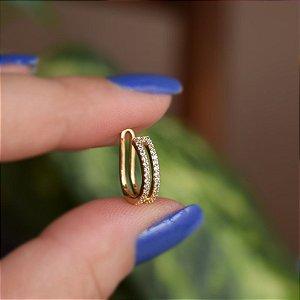Piercing de encaixe individual zircônia ouro semijoia