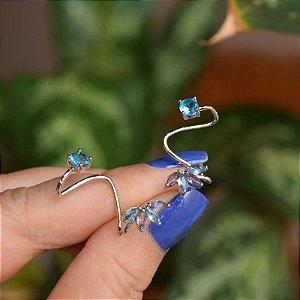 Brinco ear cuff zircônia azul ródio semijoia