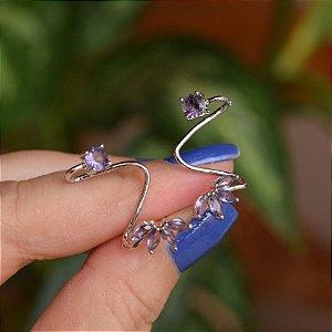 Brinco ear cuff zircônia lilás ródio semijoia