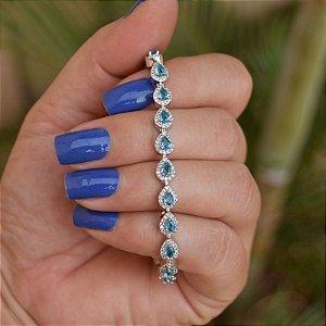Pulseira zircônia gota azul ródio semijoia