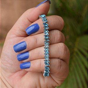 Pulseira zircônia navete azul ródio semijoia