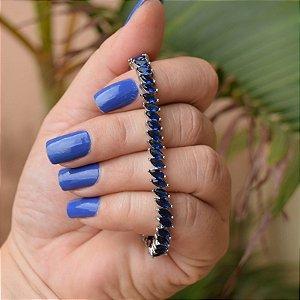 Pulseira zircônia navete azul marinho ródio semijoia