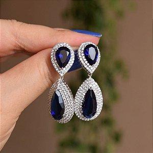 Brinco gota cristal azul marinho ródio semijoia