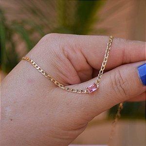 Colar choker zircônia rosa ouro semijoia