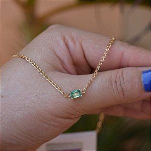 Colar choker zircônia verde ouro semijoia