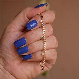 Pulseira corrente ponto de luz cristal colorido ouro semijoia