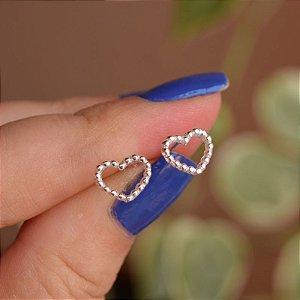 Brinco segundo furo coração esferas prata 925