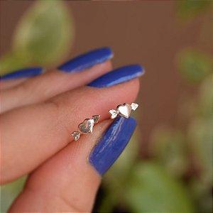 Brinco segundo furo coração cupido prata 925