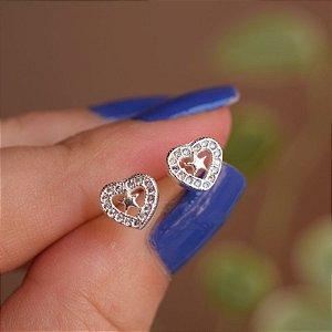 Brinco mini coração com estrela zircônia prata 925