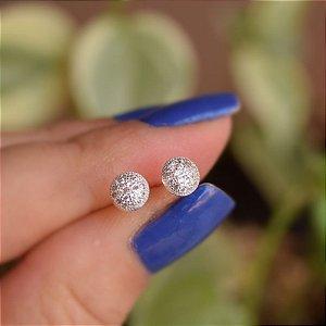 Brinco redondo zircônia cristal prata 925