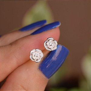 Brinco mini flor p prata 925