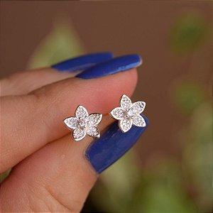 Brinco flor zircônia prata 925