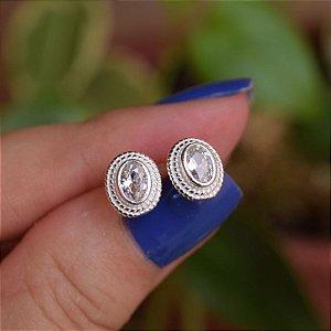Brinco oval cristal prata 925