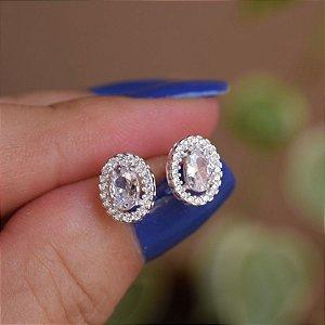 Brinco oval zircônia cristal prata 925