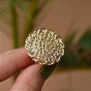Anel ajustável redondo esferas dourado