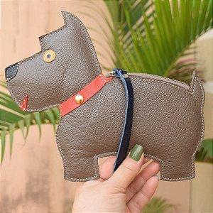 Bolsa de mão couro marrom cachorrinho infantil