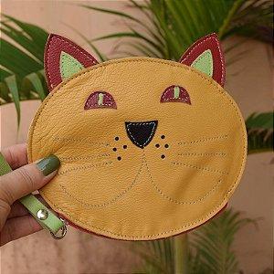 Bolsa de mão couro gatinho infantil