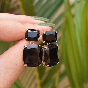 Brinco cristal preto ouro semijoia