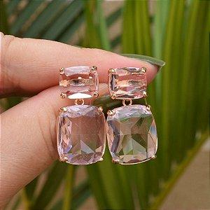 Brinco cristal rosa ouro semijoia