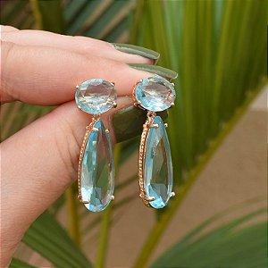 Brinco gota cristal azul claro ouro semijoia