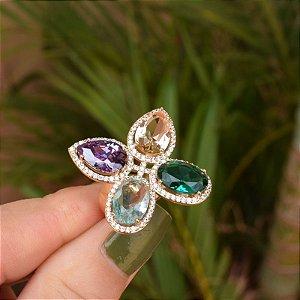 Anel cristais coloridos zircônia ouro semijoia