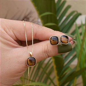 Colar e brinco quadrado pedra natural olho de tigre ouro semijoia