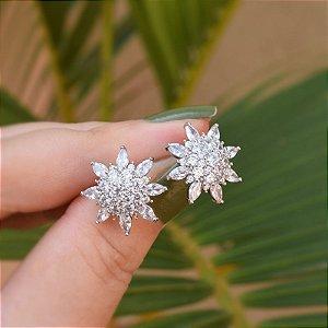 Brinco flor zircônia ródio semijoia