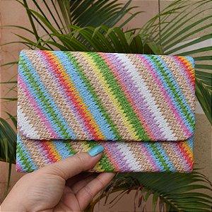 Clutch retangular ráfia colorida
