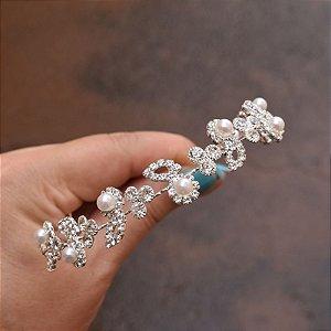 Tiara coroa noiva pérolas e cristais prateado