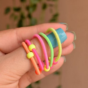 Elástico para cabelo infantil coloridas neon 5 peças