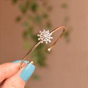 Bracelete aro zircônia ouro semijoia
