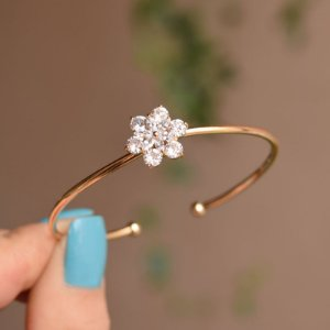 Bracelete aro flor zircônia ouro semijoia